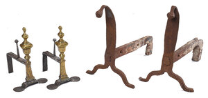 Two Pairs of Wrought Iron/Brass Andirons