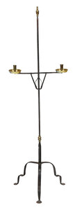 Wrought Iron and Brass Adjustable Candle Stand