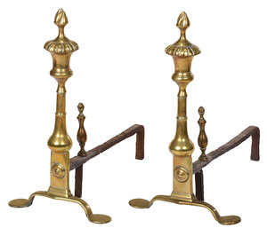 Pair Chippendale Brass Andirons