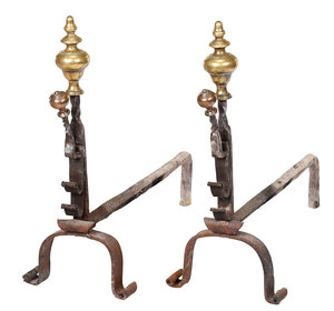 Pair William and Mary Brass Wrought Iron Andirons