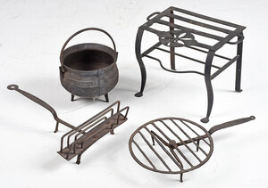 Four Wrought Iron Fireplace Cooking Implements