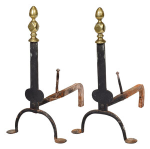 Pair Chippendale Brass/Iron Knife Blade Andirons