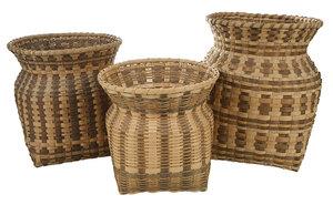 Three Cherokee Oak Split Storage Baskets