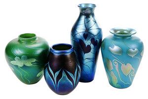 Four Lundberg Studios Iridescent Art Glass Vases