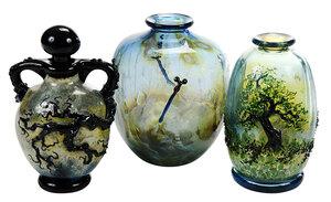 Three John Nygren Art Glass Vases