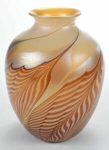 Large Iridescent Pulled Feather Art Glass Vase