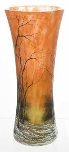 Daum Nancy Winter Landscape Art Glass Vase