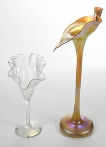 Two Floriform Art Glass Vases, Lundberg Studios