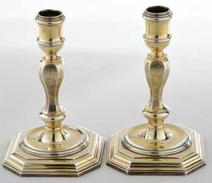 Pair of George I English Silver Candlesticks
