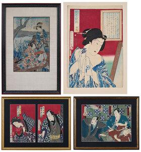 Five Woodblock Prints, Kunichika & Chikashige