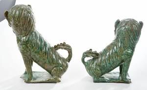 Pair Chinese Celadon Glazed Porcelain Foo Dogs