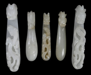 Five Carved Hardstone Belt Hooks