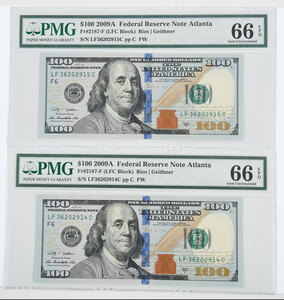 Pair of $100 Federal Reserve Notes