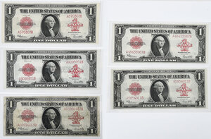 Five 1923 Red Seal $1 Notes
