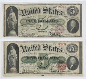 Two 1863 $5 Legal Tender Notes