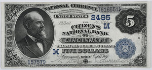 1882 $5 Citizens NB of Cincinnati, Ohio
