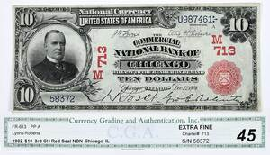 1902 $10 Commercial NB Chicago, Illinois