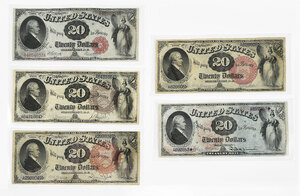 Group of Five $20 Legal Tender Notes