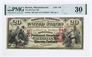 1875 $20 Boylston NB of Boston, Massachusetts