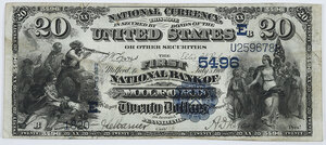 1882 $20 First NB Milford, Pennsylvania