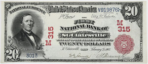 1902 $20 First NB St. Clairsville, Ohio