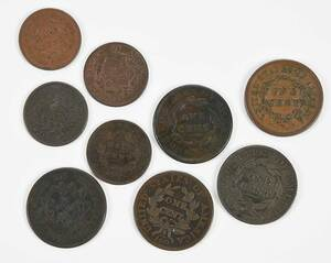 Nine Assorted Copper Coins