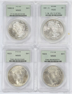 Four Gem Silver Dollars