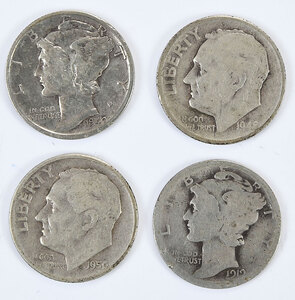 Group of Mercury and Roosevelt Silver Dimes