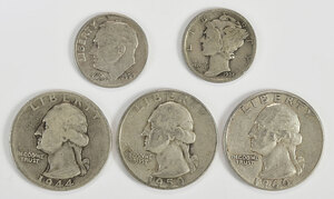 Group of Silver Quarters and Dimes