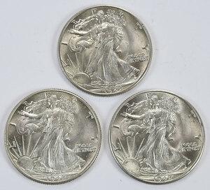 Roll of 1942 Walking Liberty Half Dollars