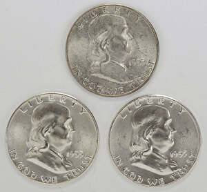 Roll of 1955 Ben Franklin Half Dollars
