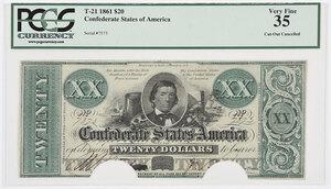 1861 $20 Confederate Note T-21