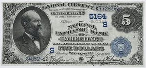1882 $5 National Exchange Bank Wheeling, WV