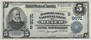 1902 $5 McDowell County NB Welch, WV