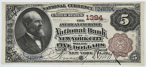 1882 $5 American Exchange NB New York City, NY