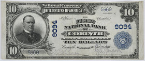 1902 $10 First NB Corinth, Mississippi