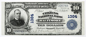 1902 $10 Citizens NB Baltimore, Maryland