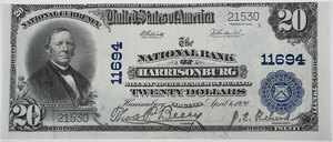 1902 $20 NB of Harrisonburg, Virginia