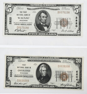 Two Small Wisconsin National Notes