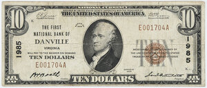 1929 $10 First National Bank Danville, Virginia