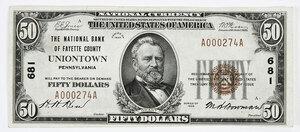 1929 $50 NB Fayette County Uniontown, PA
