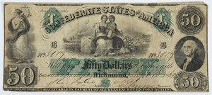 1861 $50 Confederate Note T-6