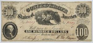 1861 $100 Confederate Note T-7