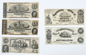 Group of Confederate $20 Notes