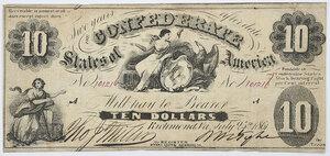 1861 $10 Confederate Note T-10