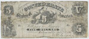 1861 $5 Confederate Note T-11