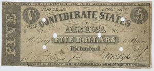 1861 $5 Confederate Note T-12