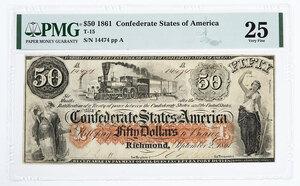 1861 $50 Confederate Note T-15