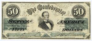 1861 $50 Confederate Note T-16