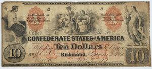 1861 $10 Confederate Note T-22